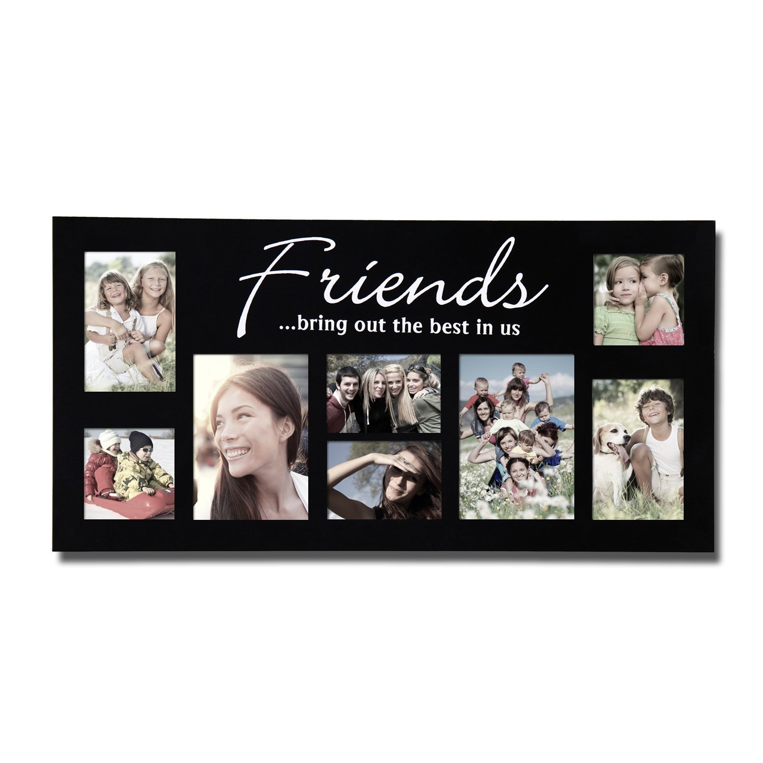 9651d00764e Adeco 8 OpeningsBlack Wood Wall Hanging Collage Puzzle Picture Frame -