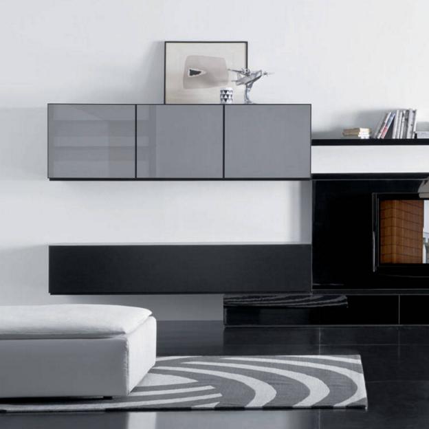 Moderne Tv-schrank Weiß Lack Hölzernen Wand Montiert Tv ...