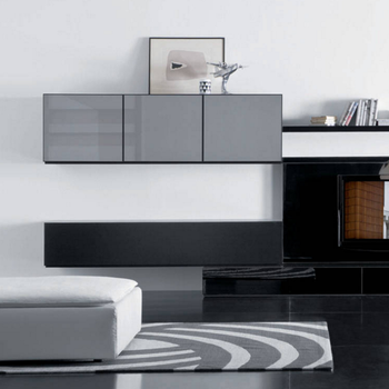 Modern Dinding Tv Kabinet Putih Lacquer Kayu Mount Lemari