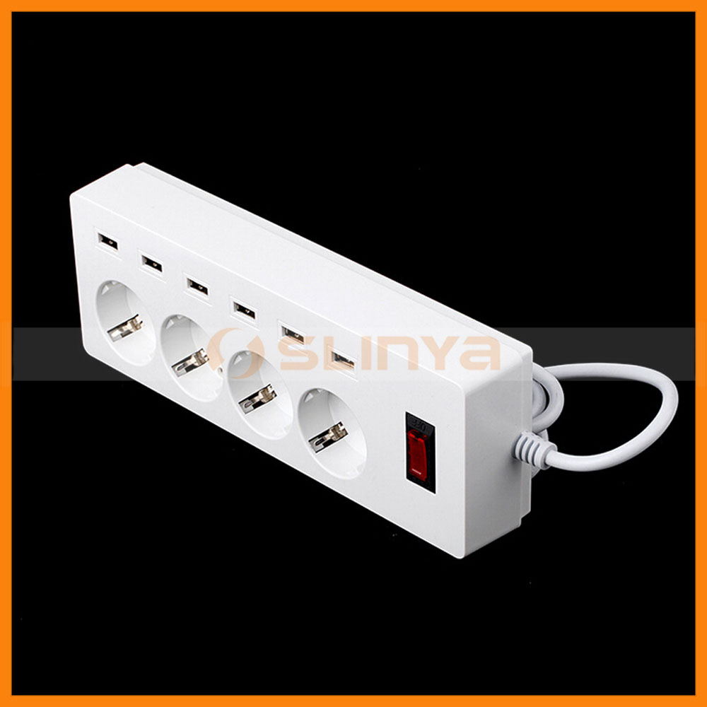 Factory Supply Overload Proteciton 6 Port 4 Outlet EU USB Extension Socket