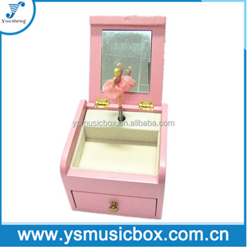 Custom Wooden Baby Pink Musical Box With Mirror Jewelry Box Music