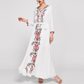 ladies embroidered tape v neck floral print and embroidery maxi dresses full sleeves