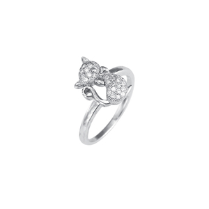 2019 Cute Fashion 925 Sterling Silver Cubic Zirconia Cat Ring