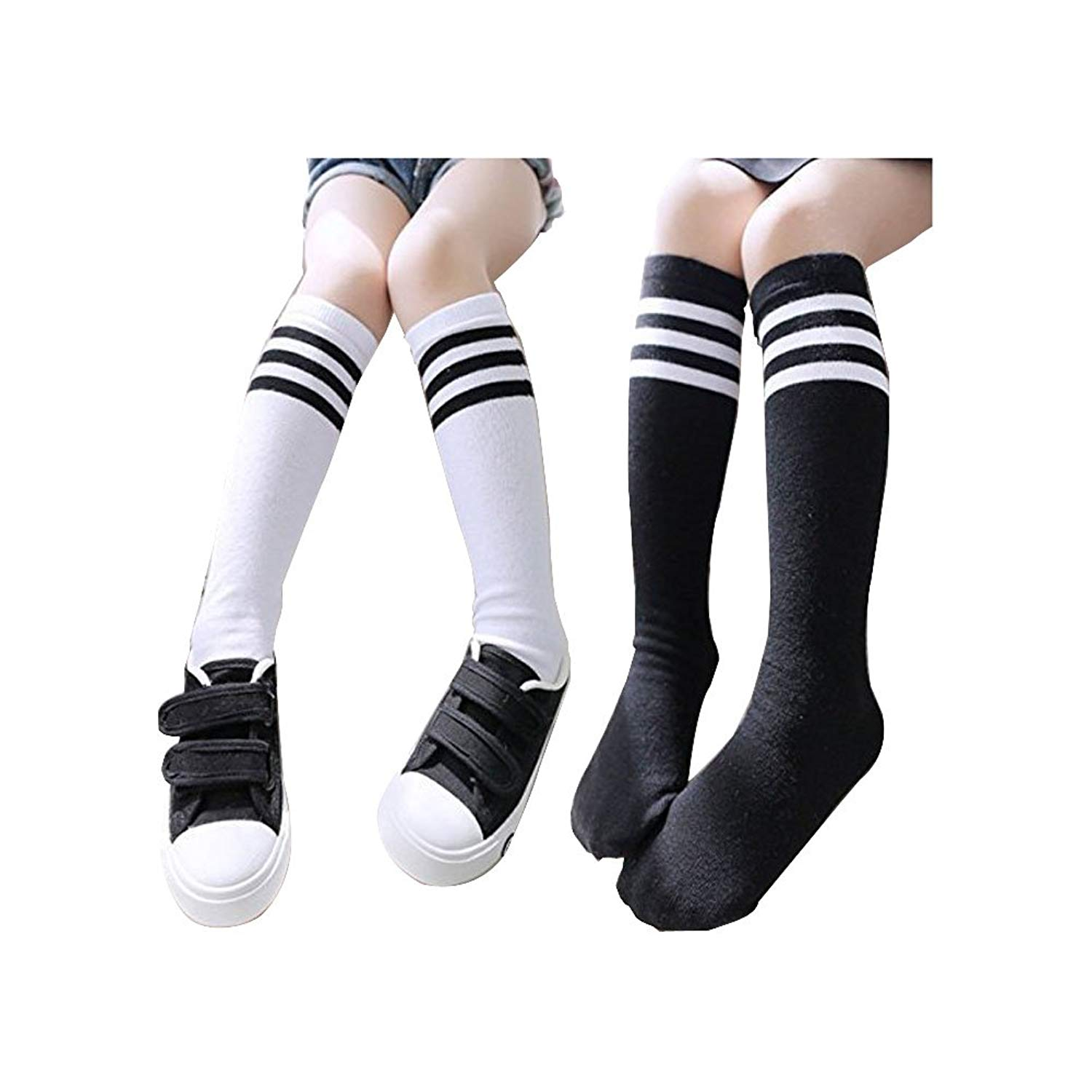 21af73a2086 Get Quotations · Girls Socks Toddler Knee High Stockings 2PC Running Socks  For 3-10 Years