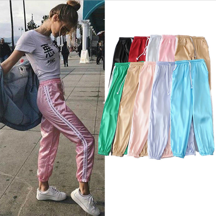 W-C-117 Women Hot Sale 10 Stocking Colors Sport Running Satin Long Trousers Jogger Pants