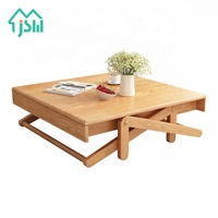 Creative retractable solid wood folding small tea table