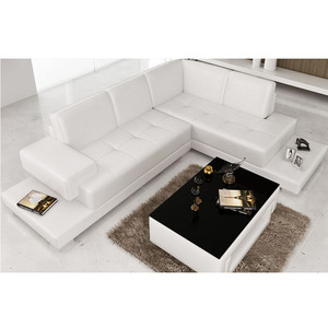 2018 new design sofa colour combination sectional L shape white sofa