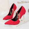 SS0057 Female metal spike high heel shoes 2018 bridal wedding pump shoes