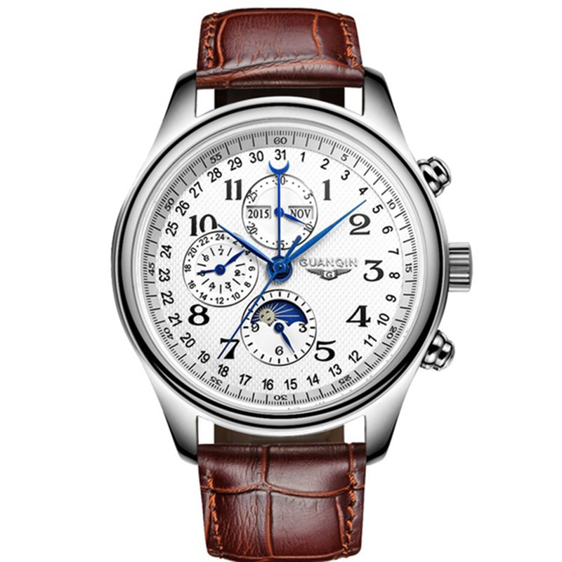 GUANQIN GQ20022 Men's Watch Automatic Mechanical Leather Moon Phase Casual Watches