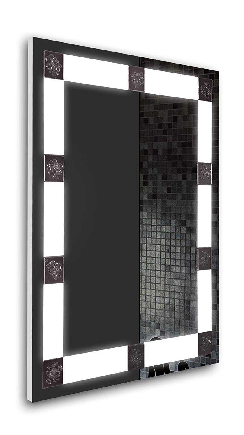 Tilebay LLC Remus Led Lighted Rectangle Bathroom Mirror , Illuminated Wall Mounted Horizontal/Vertical Mirror 31x23 with Touch Button Switch