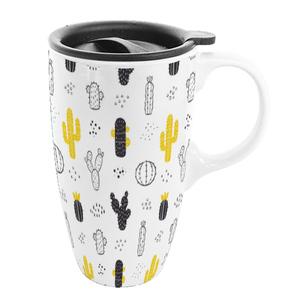 Ceramic Coffee Mug With Plastic Lid / Popular Ceramic Travel Mug / Custom Plain White Ceramic Mug