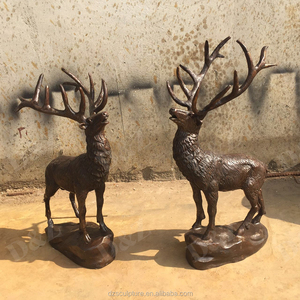 Christmas outdoor decoration life size brass deer statues reindeer