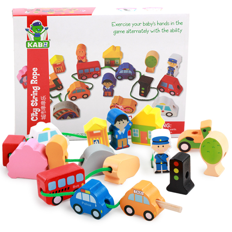 Punctual String Of Beads Baby Child Wooden Toys Toys & Hobbies Wooden Blocks