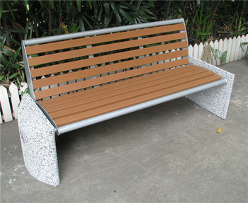 Stone Wood Bench With Back Garden