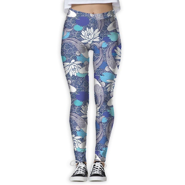 c83c85ee982d43 Get Quotations · Womens Yoga Leggings Koi Fish Animal Compression Sports  Tights Pants Athletic Leggings