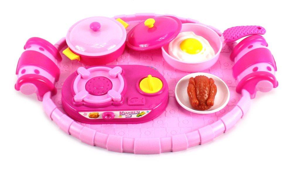 Happy Kid Kitchen Pretend Play Toy Kitchen Play Set w/ Stove, Pot, Pan, Toy Food