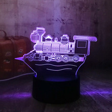 Nieuwe 3D LED Vintage Locomotief RGB SCHAKELAAR Nachtlampje Tafel Bureaulamp USB Slaapkamer LAMP Thuis Party Decor Kids Gift illusion Lava