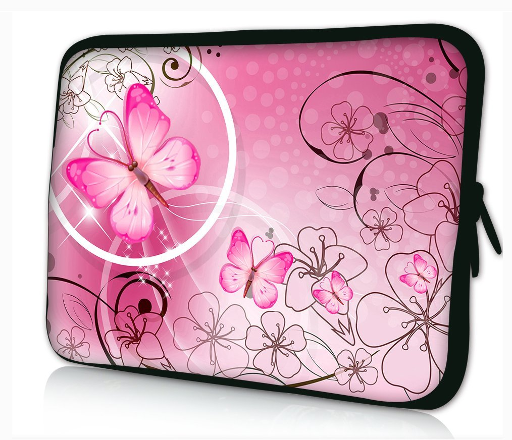 "Pink Butterflies & Flowers 17 inch 17"" 17.1"" 17.4"" Laptop Notebook PC Sleeve Case Bag Pouch Cover Protector For 17""-17.4"" HP Pavilion G60 DV6 / HP PROBOOK 4730S 4720S 4740S 4710S /HP Pavilion G7 DV7 E17 /HP EliteBook 8740W 8730W 8710W /HP Envy Touchsmart 17T / SONY VAIO E Series /ASUS G Series"