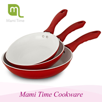 New and safe green aluminum white ceramic coated non-stick fry pan