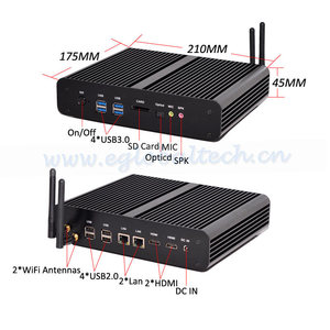 Eglobal Industrial Mini PC 2LAN ports, DIY core i7 5500U embedded PC fanless barebone system computer