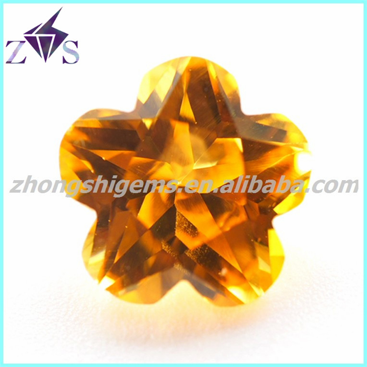 shining flower cut champagne topaz cz gemstone
