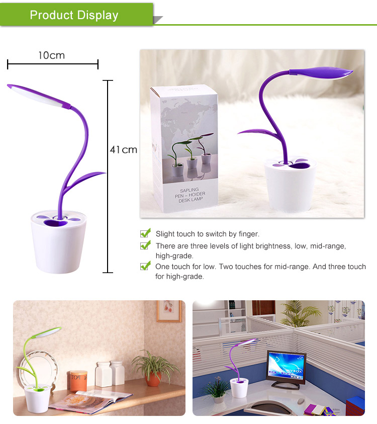Eye Protection Energy Saving Flexible Bed Side Table Lamps with Pen Holder
