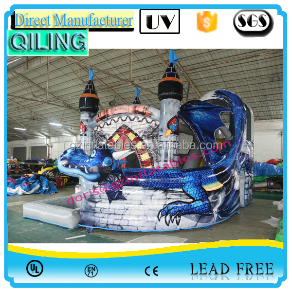 (Qi Ling) inflatable dragon bouncy castle/dragon inflatable bouncer slide/inflatable dragon combo