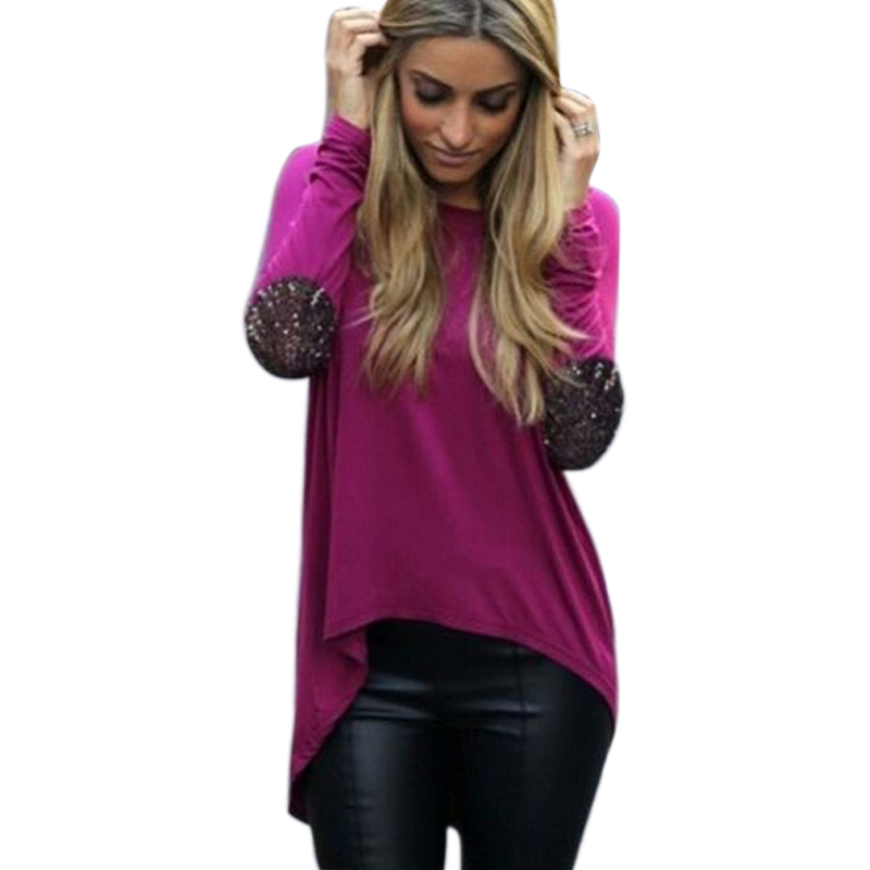 d55f60b465c Get Quotations · Autumn Women Long Sleeve Asymmetric Blouse Fashion O-neck  Sequin Patchwork Casual Clothing Plus SIze