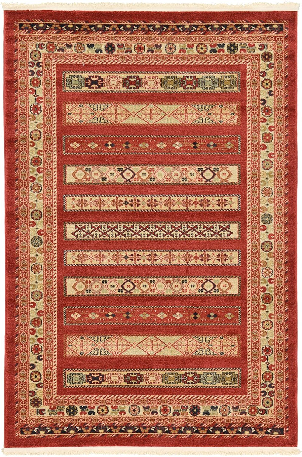 A2Z Rug 4-Feed-by-6-Feed Gabbeh Collection Area Rug - Rust Red Modern & Traditional rugs for living room - rugs for dining room & bedroom - Floor Carpet