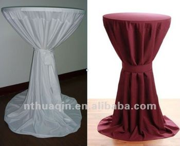 Polyester White Wedding High Boy Bar Cocktail Table Cover Bistro Table Cloth  For Weddings