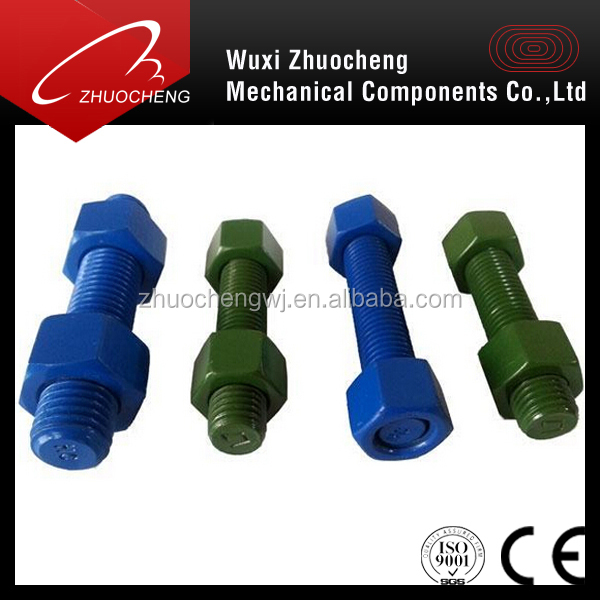 b7 b16 xylan   coating stud bolt with 2h or grade 4 nut and washer