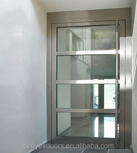 entry door stainless steel frame with tempered glass door