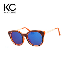 Custom Fashion Round Frame Wooden Bamboo Sunglasses