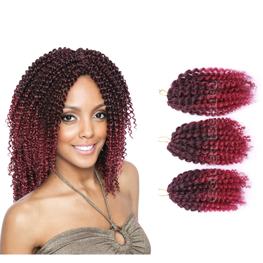 3pcs set colorful 8 10inch afro kinky curly crochet hair extensions of ombre twist braiding. Black Bedroom Furniture Sets. Home Design Ideas