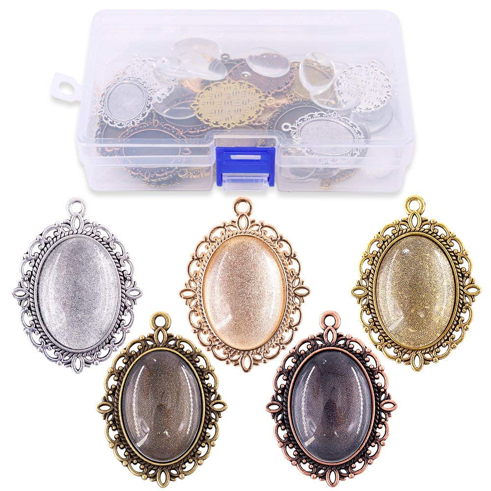 Glarks 56Pcs 4 Colors Pendant Trays Round Bezel with Glass Cabochon Round Clear