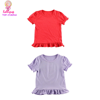 19988624f Wholesale cheap white girl toddler ruffle shirt blank boutique tops ...