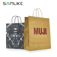 Low Cost Customised Coffee Paper Kraft Bag Handle Price Oem Paper Carrier Bags For Raw Material