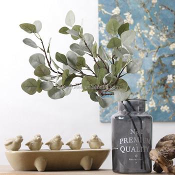 Cheap Artificial Flower Silver Dollar Eucalyptus Garland Silk Flowers Foliage Plants Leaves