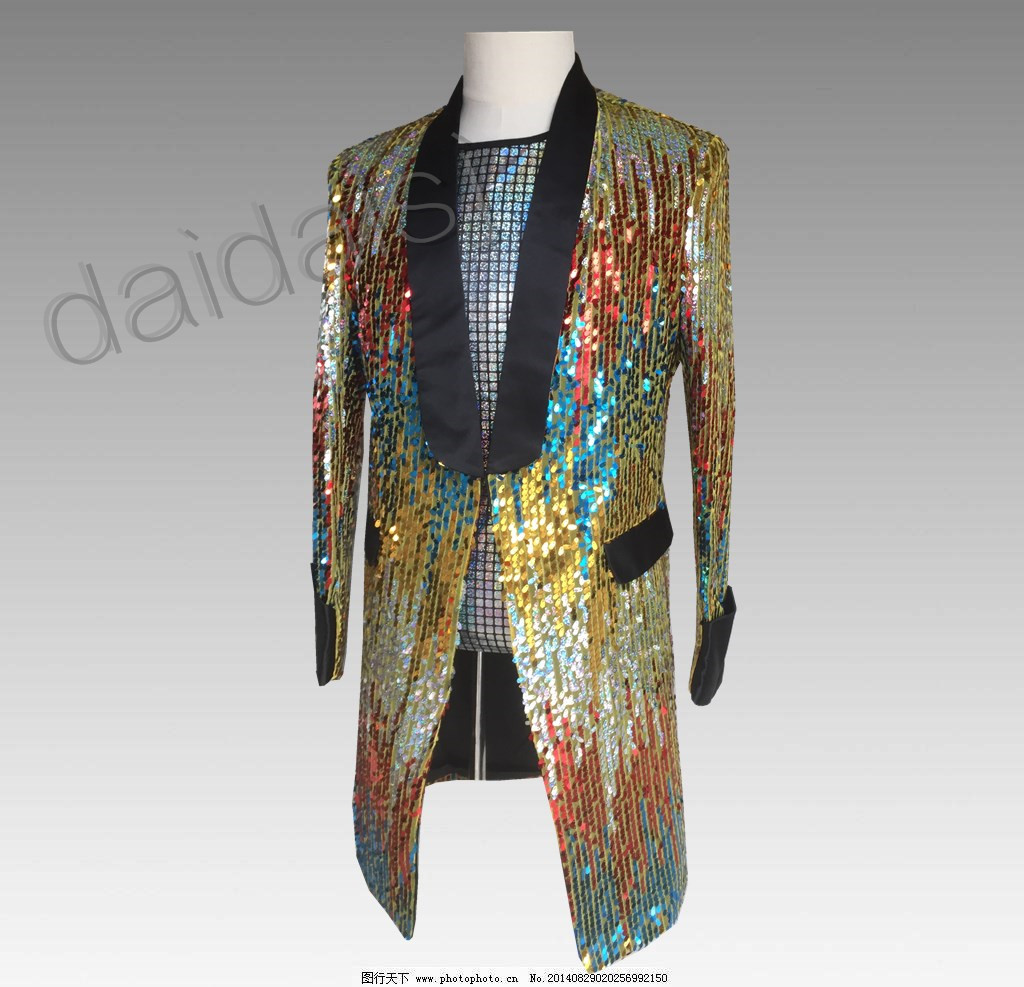 dbf9f8bd6bc7d 2019 Mens Sequins Bling Rainbow Colors Long Suit Blazer Bar Coat ...