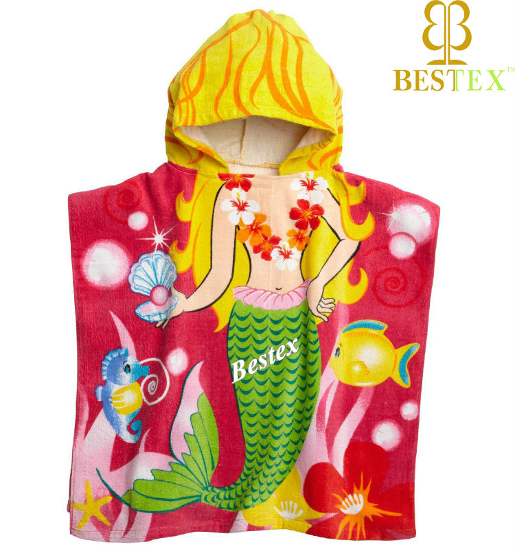 Nice Mermaid Printed Children poncho Baby beach towel with hood