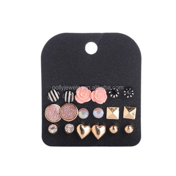 2019 New Product Hot Sell Korean Style Flower Heart Square Round Fashion Small Stud Lay Earring Set