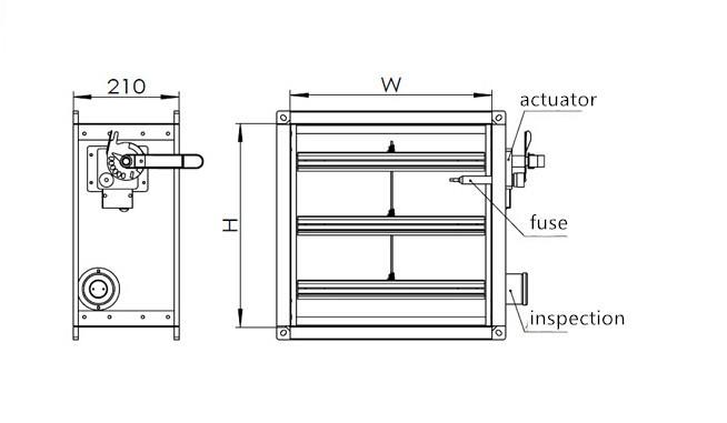 Motorized fire smoke damper for ventilation systems buy for Motorized fire smoke damper installation