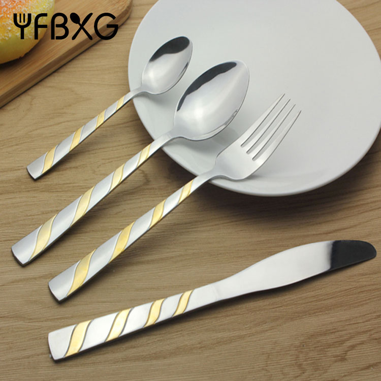 Latest gold silver copper spoons forks knives stainless steel cutlery set silver spoon