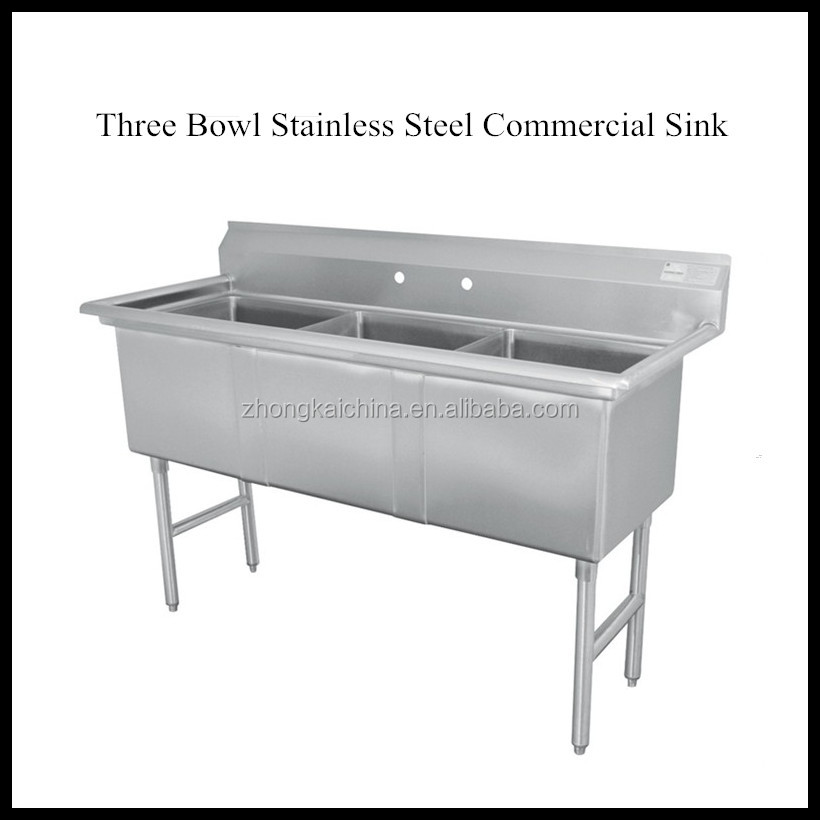 Commercial stainless steel sink with raised 1-5/8 diameter rolled edge