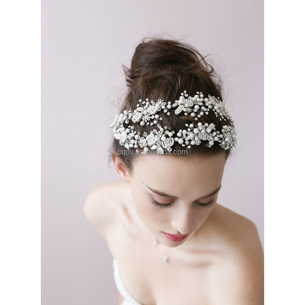 2017 Fairy Ladies Flower Headband Good Quality Handmade Pearl Beads With Ribbon Hair Band Bridal Headpiece