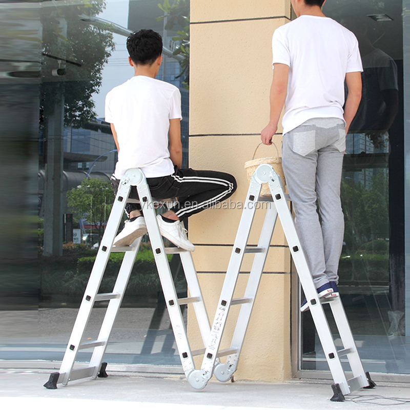 aluminum folding and multi purpose ladder with hinges