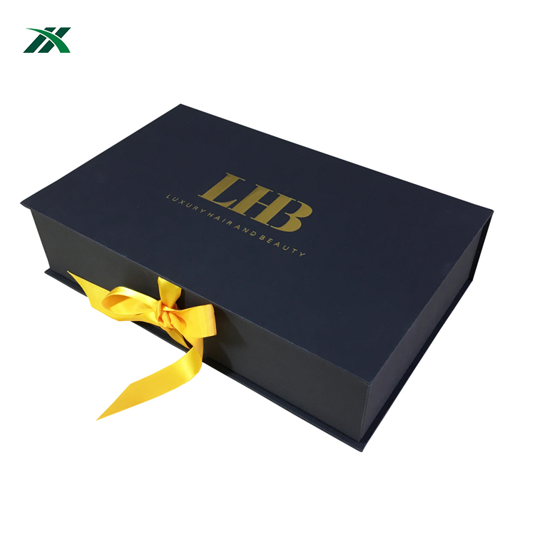 luxurious hair extension gift box with silk fabric insert
