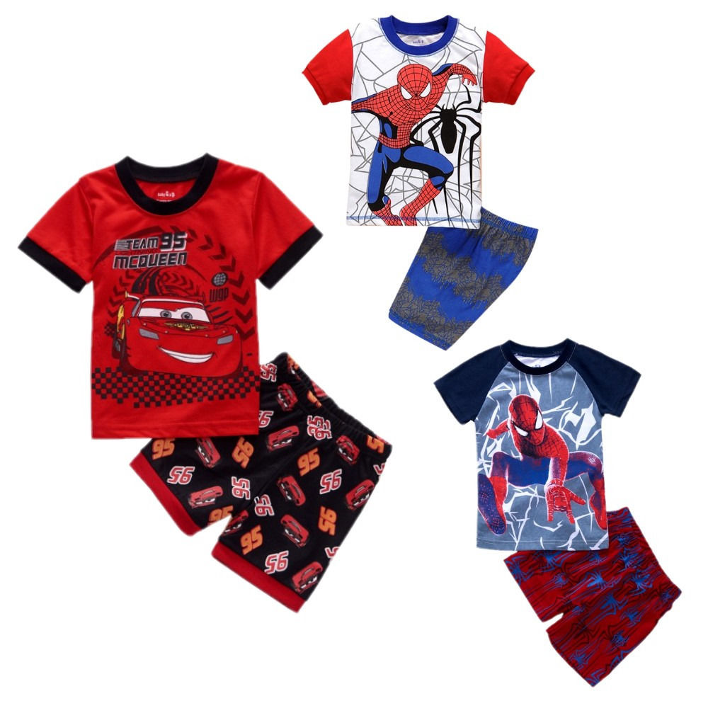 Summer kids boy pajamas children cartoon pyjamas set boys short sleeve t shirt pants suit baby