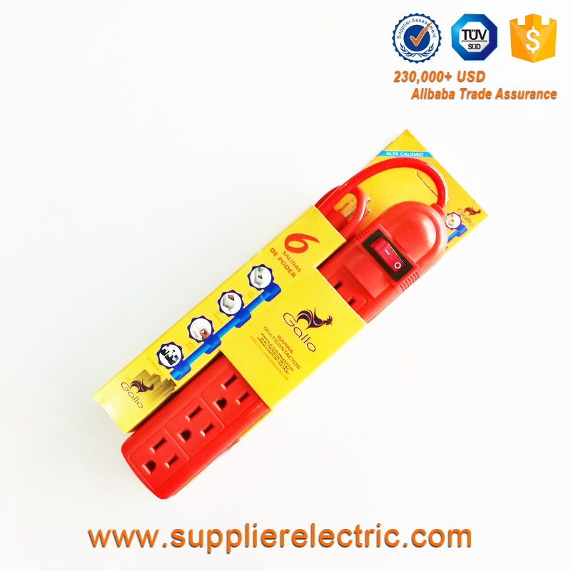 Mexico Popular Red Color Power Strip 6 Way Electrical Extension Socket Outlet
