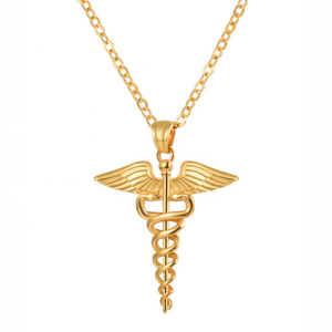 Stainless Angel Wing Necklace Medical Nurse Pendant with Chain Jewelry Fashion Woman Gold & Silver Necklace Chain